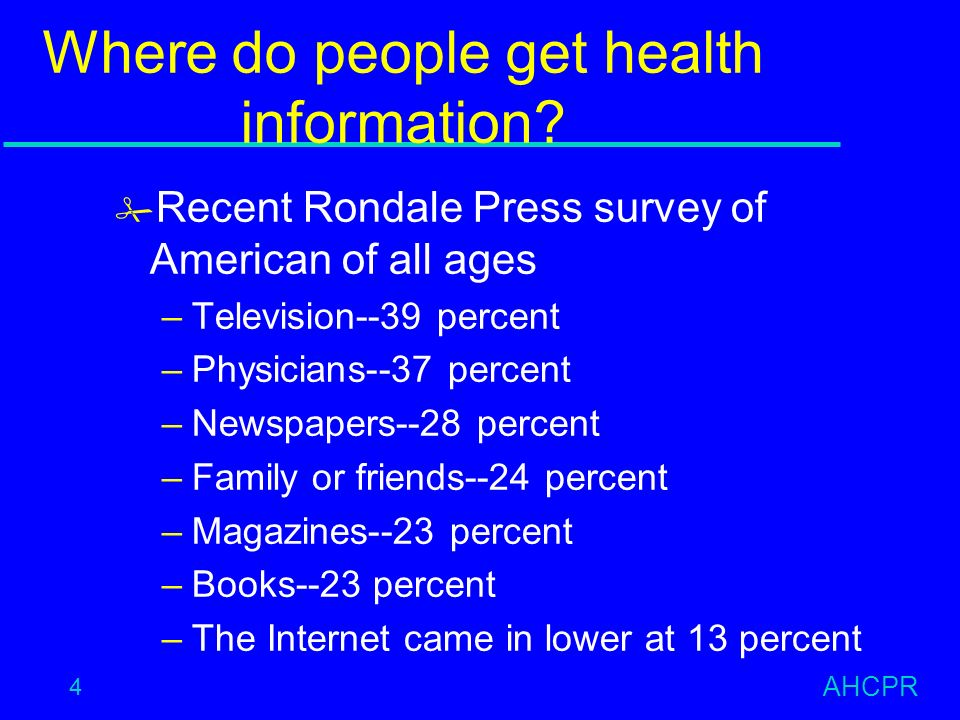 AHCPR 4 Where do people get health information.