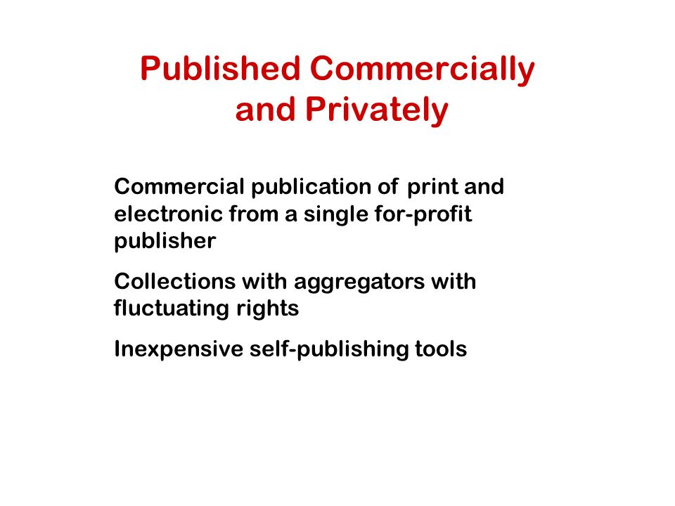 Published Commercially and Privately Commercial publication of print and electronic from a single for-profit publisher Collections with aggregators with fluctuating rights Inexpensive self-publishing tools
