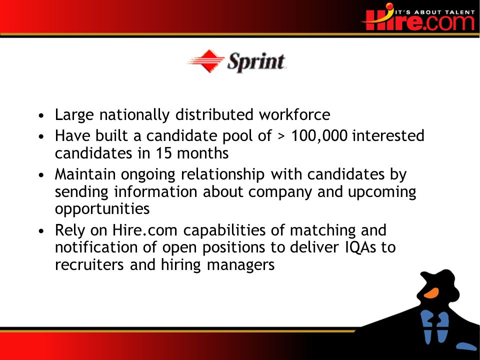 Large nationally distributed workforce Have built a candidate pool of > 100,000 interested candidates in 15 months Maintain ongoing relationship with candidates by sending information about company and upcoming opportunities Rely on Hire.com capabilities of matching and notification of open positions to deliver IQAs to recruiters and hiring managers