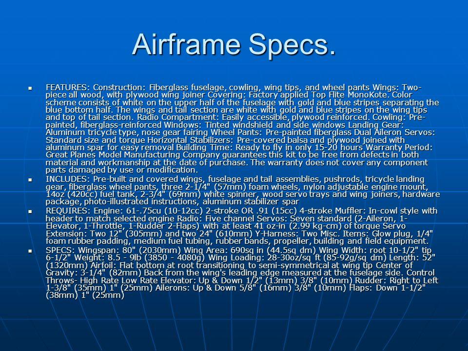 Airframe Specs.