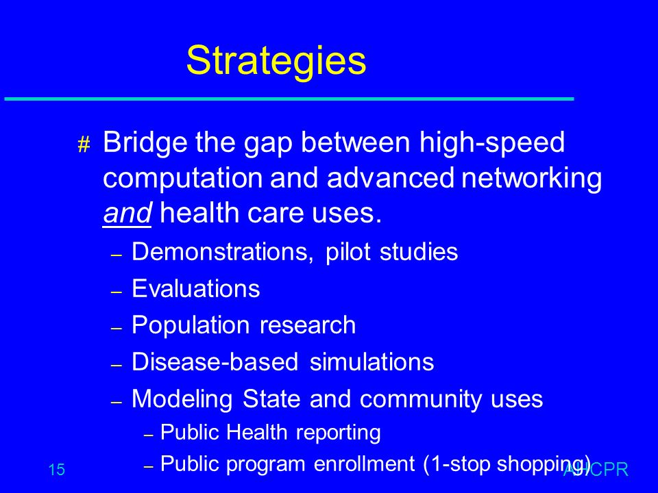 AHCPR 15 Strategies # Bridge the gap between high-speed computation and advanced networking and health care uses.