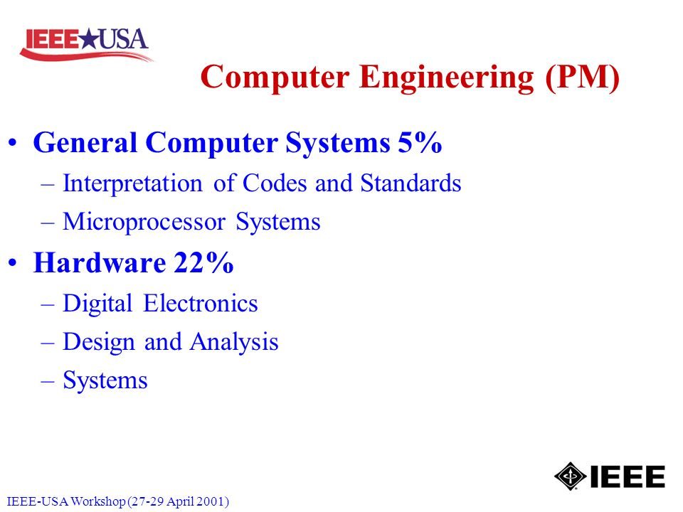 IEEE-USA Workshop (27-29 April 2001) Computer Engineering (PM) General Computer Systems 5% –Interpretation of Codes and Standards –Microprocessor Syst