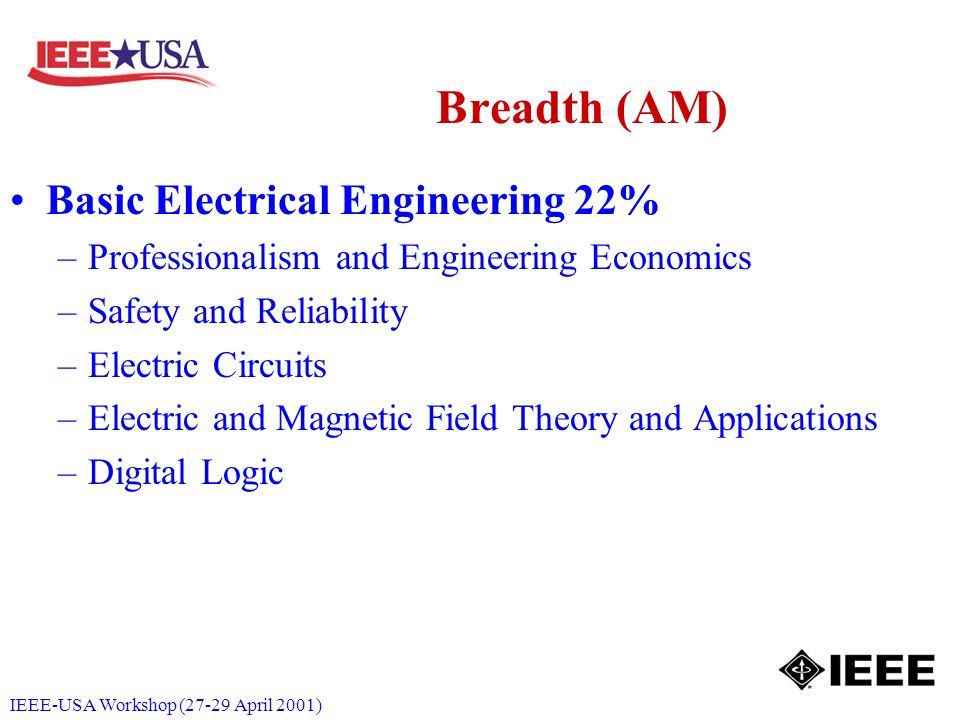 IEEE-USA Workshop (27-29 April 2001) Breadth (AM) Basic Electrical Engineering 22% –Professionalism and Engineering Economics –Safety and Reliability –Electric Circuits –Electric and Magnetic Field Theory and Applications –Digital Logic