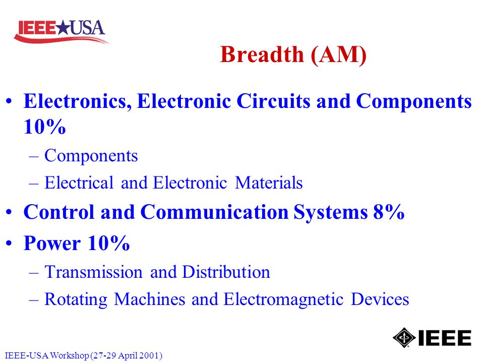 IEEE-USA Workshop (27-29 April 2001) Breadth (AM) Electronics, Electronic Circuits and Components 10% –Components –Electrical and Electronic Materials Control and Communication Systems 8% Power 10% –Transmission and Distribution –Rotating Machines and Electromagnetic Devices
