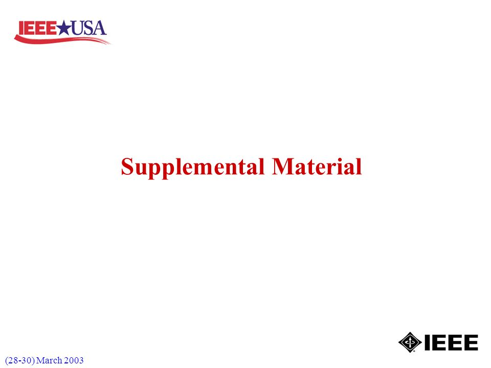 (28-30) March 2003 Supplemental Material