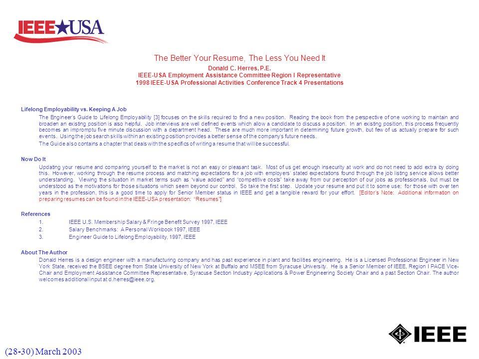 (28-30) March 2003 Lifelong Employability vs.