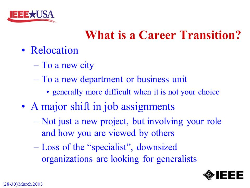 (28-30) March 2003 What is a Career Transition.