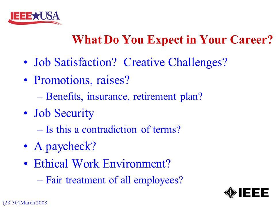 (28-30) March 2003 Job Satisfaction. Creative Challenges.