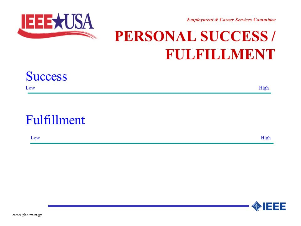 ________________ Employment & Career Services Committee career-plan-maint.ppt PERSONAL SUCCESS / FULFILLMENT Success Low High Fulfillment Low High