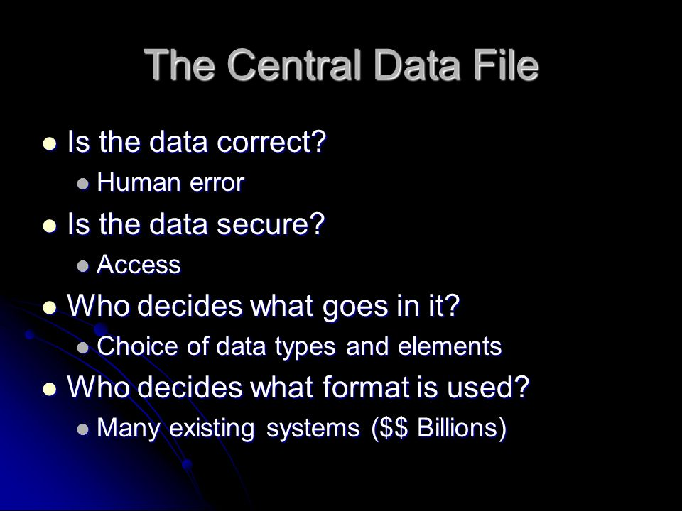 The Central Data File Is the data correct. Is the data correct.