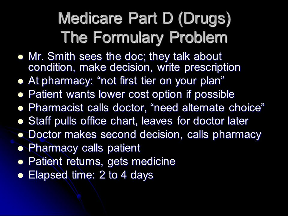 Medicare Part D (Drugs) The Formulary Problem Mr. Smith sees the doc; they talk about condition, make decision, write prescription Mr. Smith sees the