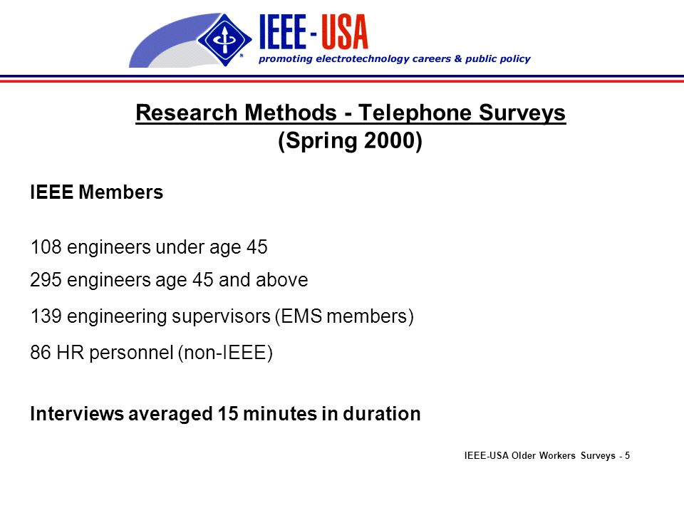 Supervisory and Human Resources Assessments Age at which attributes and skills differ SupervisorsHR Personnel By age 30 18% 20% By age 35 51% 32% By age 39 60% 38% By age 40 79% 55% By age 45 or older 94% 76% IEEE-USA Older Workers Surveys - 15