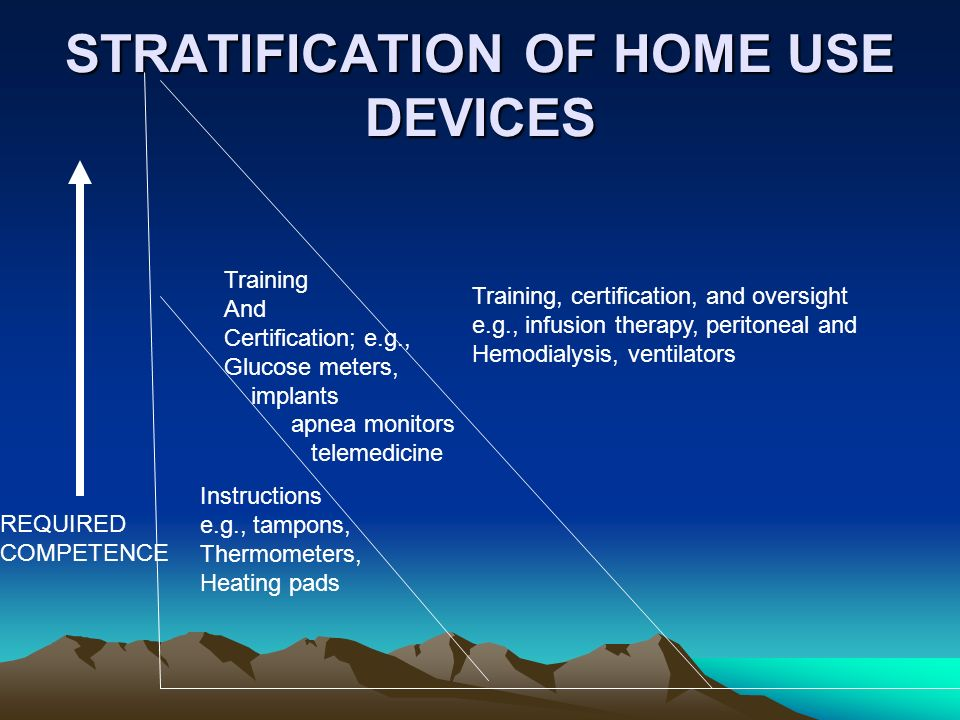 STRATIFICATION OF HOME USE DEVICES REQUIRED COMPETENCE Instructions e.g., tampons, Thermometers, Heating pads Training And Certification; e.g., Glucose meters, implants apnea monitors telemedicine Training, certification, and oversight e.g., infusion therapy, peritoneal and Hemodialysis, ventilators