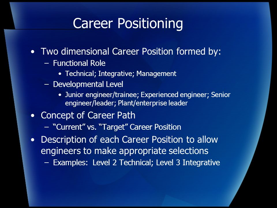 Career Positioning Two dimensional Career Position formed by: –Functional Role Technical; Integrative; Management –Developmental Level Junior engineer/trainee; Experienced engineer; Senior engineer/leader; Plant/enterprise leader Concept of Career Path –Current vs.