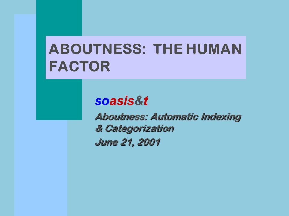 ABOUTNESS: THE HUMAN FACTOR soasis&t Aboutness: Automatic Indexing & Categorization June 21, 2001