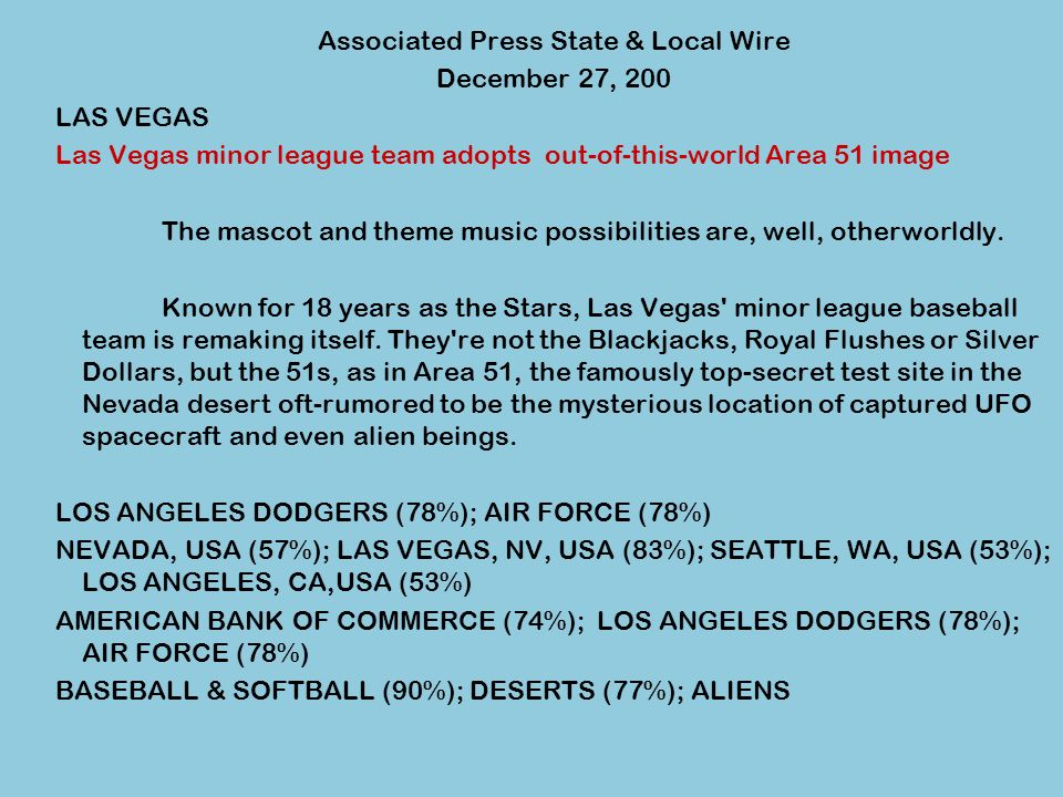 Associated Press State & Local Wire December 27, 200 LAS VEGAS Las Vegas minor league team adopts out-of-this-world Area 51 image The mascot and theme music possibilities are, well, otherworldly.