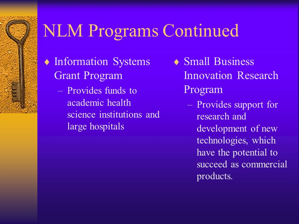 NLM Programs Continued Information Systems Grant Program –Provides funds to academic health science institutions and large hospitals Small Business In