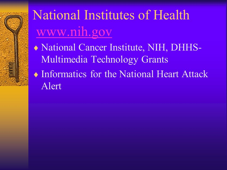 National Institutes of Health www.nih.govwww.nih.gov National Cancer Institute, NIH, DHHS- Multimedia Technology Grants Informatics for the National H