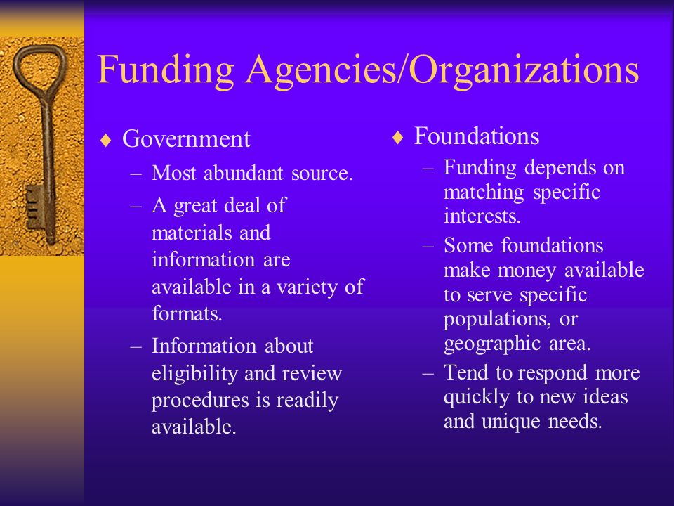 Funding Agencies/Organizations Government –Most abundant source. –A great deal of materials and information are available in a variety of formats. –In