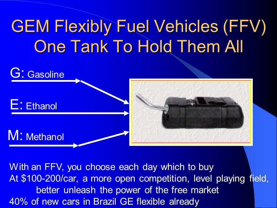 GEM Flexibly Fuel Vehicles (FFV) One Tank To Hold Them All G: Gasoline E: Ethanol M: Methanol With an FFV, you choose each day which to buy At $100-20