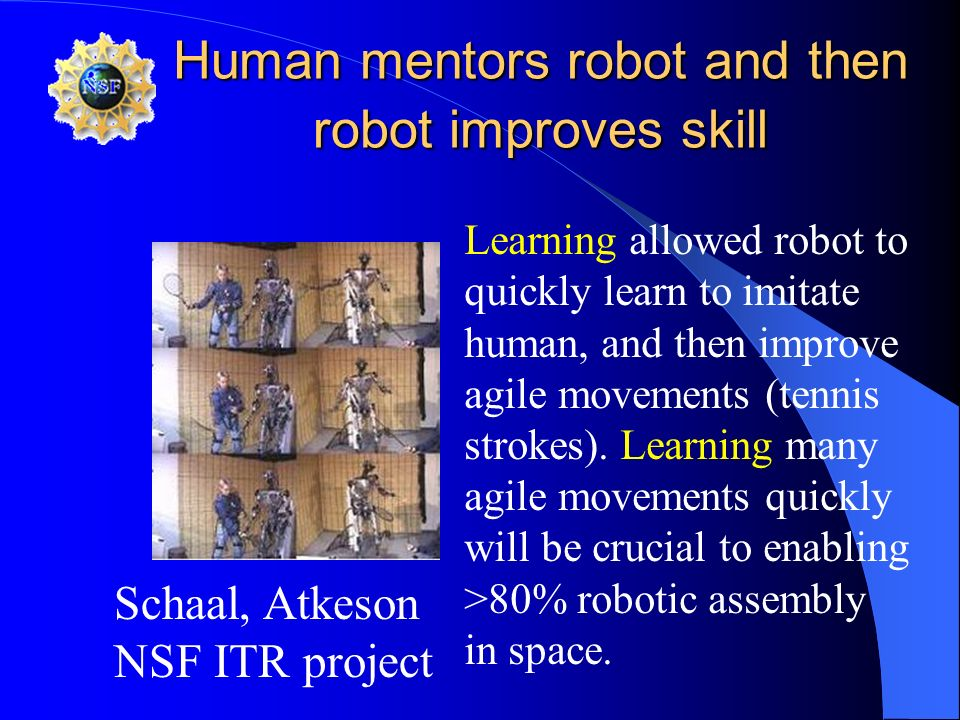Human mentors robot and then robot improves skill Learning allowed robot to quickly learn to imitate human, and then improve agile movements (tennis s