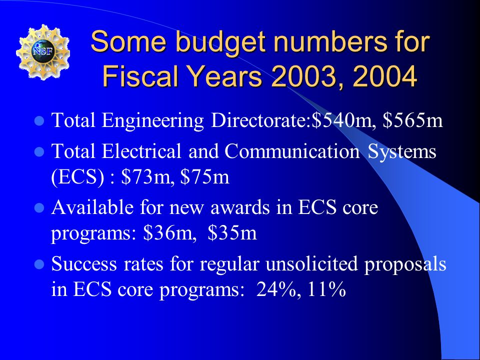 Some budget numbers for Fiscal Years 2003, 2004 Total Engineering Directorate:$540m, $565m Total Electrical and Communication Systems (ECS) : $73m, $7