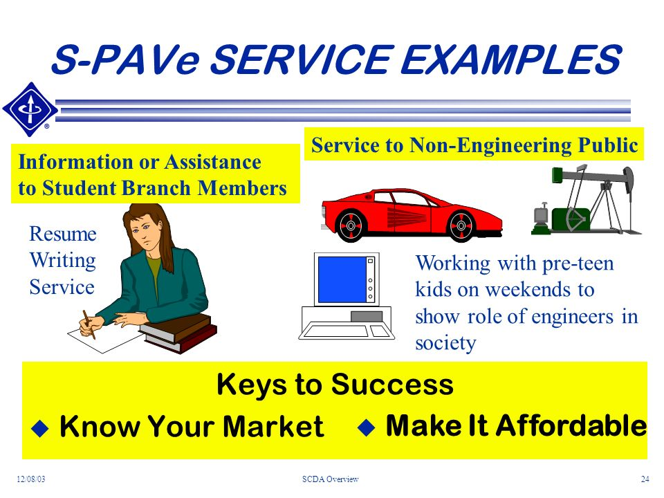 12/08/03SCDA Overview24 S-PAVe SERVICE EXAMPLES Keys to Success Know Your Market Resume Writing Service Working with pre-teen kids on weekends to show role of engineers in society Information or Assistance to Student Branch Members Service to Non-Engineering Public u Make It Affordable
