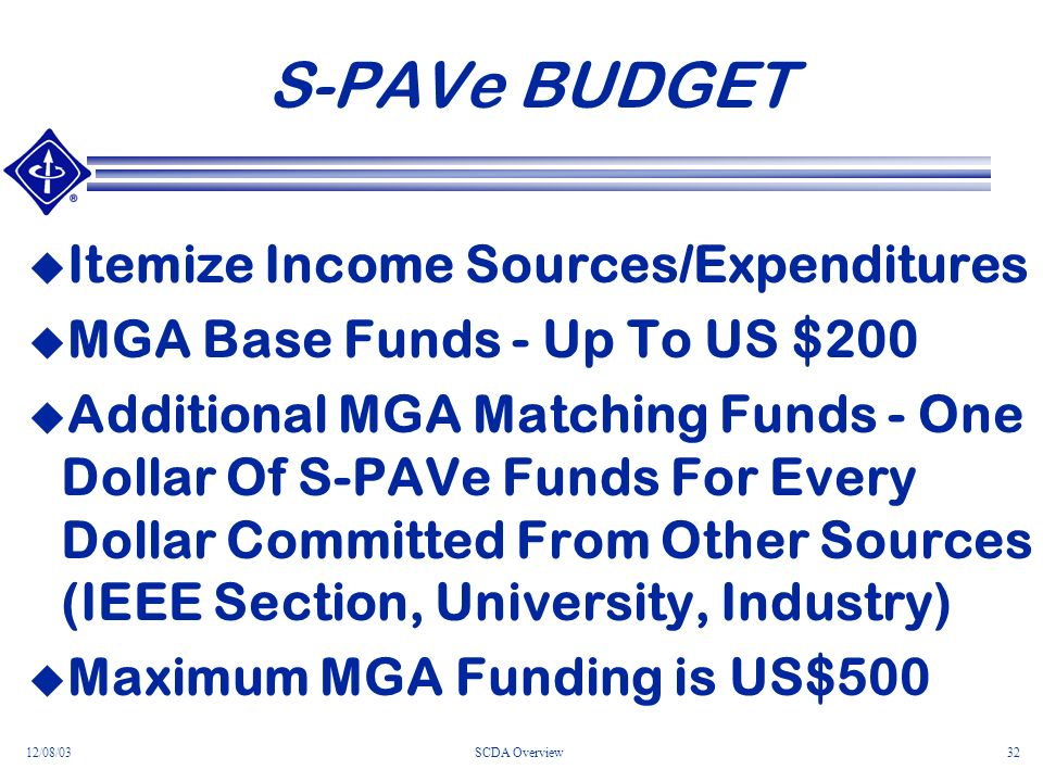12/08/03SCDA Overview32 S-PAVe BUDGET Itemize Income Sources/Expenditures MGA Base Funds - Up To US $200 Additional MGA Matching Funds - One Dollar Of S-PAVe Funds For Every Dollar Committed From Other Sources (IEEE Section, University, Industry) Maximum MGA Funding is US$500