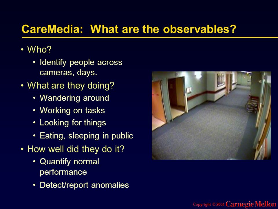 Copyright © 2004 CareMedia: What are the observables.