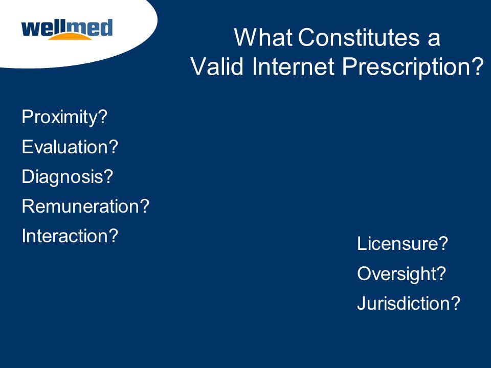 What Constitutes a Valid Internet Prescription? Proximity? Evaluation? Diagnosis? Remuneration? Interaction? Licensure? Oversight? Jurisdiction?