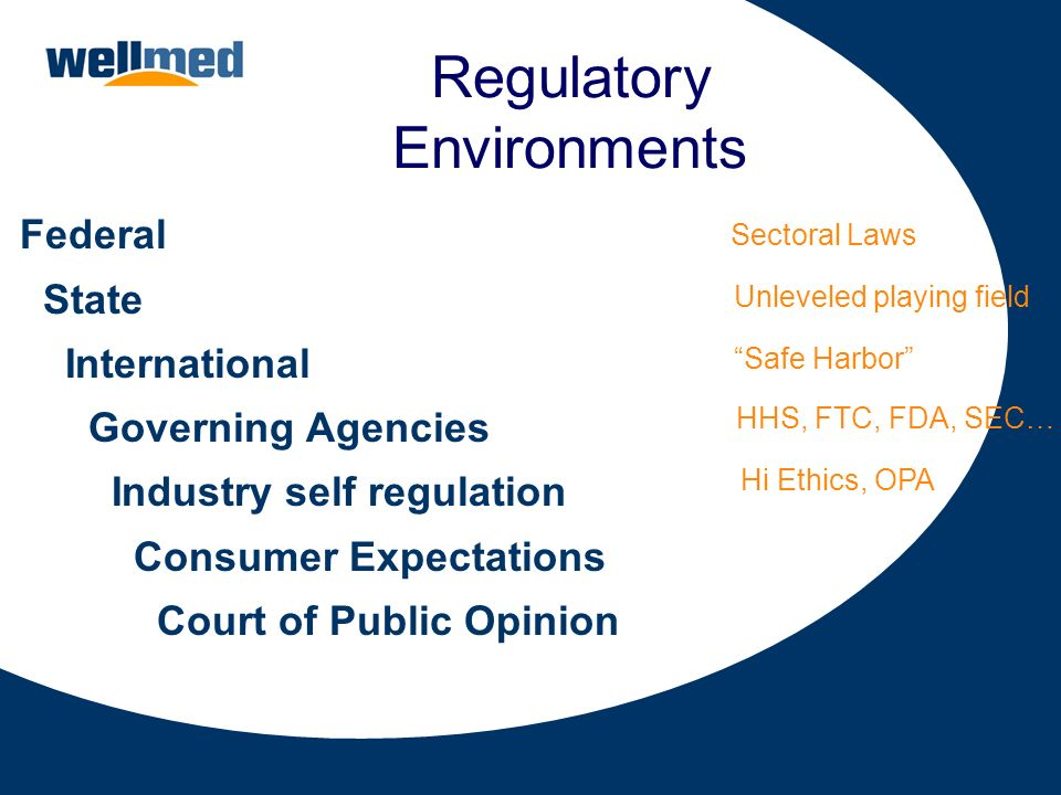 Regulatory Environments Federal State International Governing Agencies Industry self regulation Consumer Expectations Court of Public Opinion Sectoral