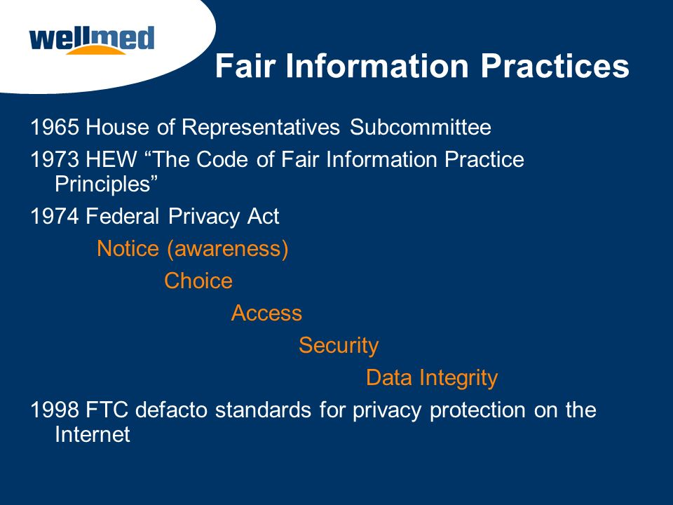 Fair Information Practices 1965 House of Representatives Subcommittee 1973 HEW The Code of Fair Information Practice Principles 1974 Federal Privacy A