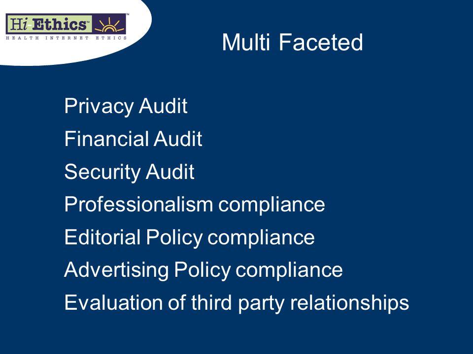 Multi Faceted Privacy Audit Financial Audit Security Audit Professionalism compliance Editorial Policy compliance Advertising Policy compliance Evalua
