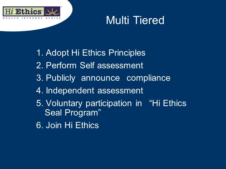 Multi Tiered 1. Adopt Hi Ethics Principles 2. Perform Self assessment 3. Publicly announce compliance 4. Independent assessment 5. Voluntary participa