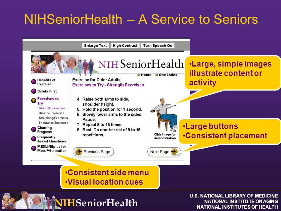 U.S. NATIONAL LIBRARY OF MEDICINE NATIONAL INSTITUTE ON AGING NATIONAL INSTITUTES OF HEALTH NIHSeniorHealth NIHSeniorHealth – A Service to Seniors Con