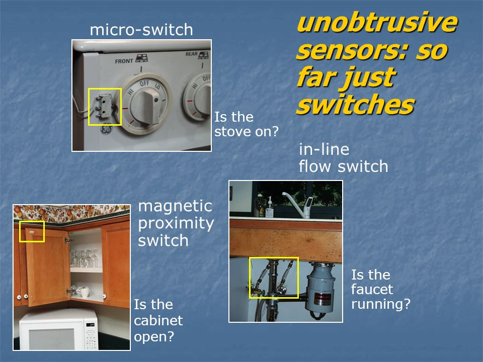 unobtrusive sensors: so far just switches Is the faucet running.