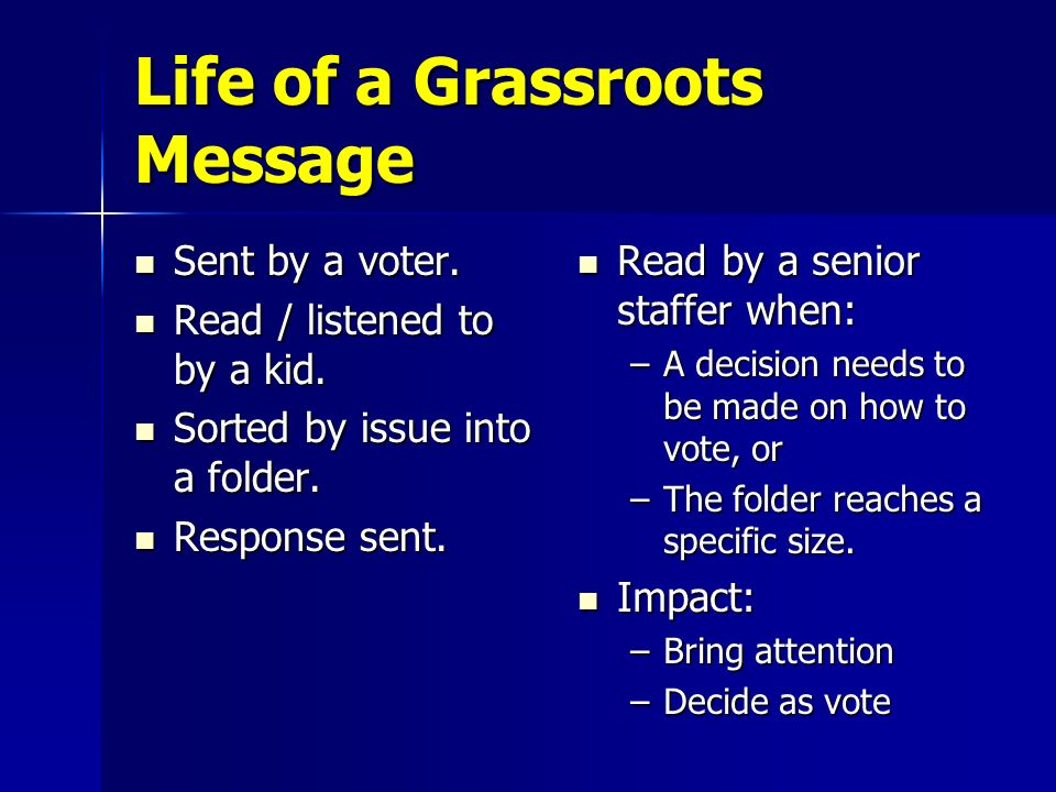 Life of a Grassroots Message Sent by a voter. Sent by a voter. Read / listened to by a kid. Read / listened to by a kid. Sorted by issue into a folder
