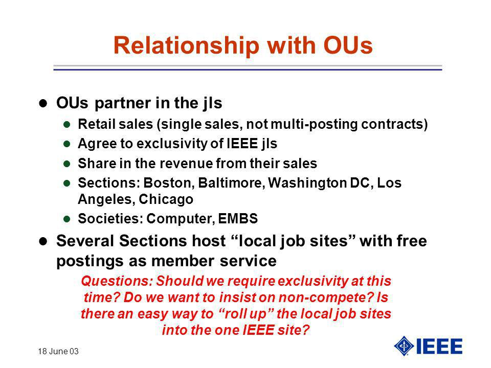 18 June 03 Relationship with OUs OUs partner in the jls l Retail sales (single sales, not multi-posting contracts) l Agree to exclusivity of IEEE jls
