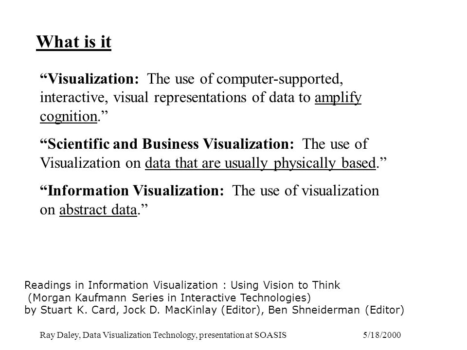 5/18/2000Ray Daley, Data Visualization Technology, presentation at SOASIS What is it Readings in Information Visualization : Using Vision to Think (Morgan Kaufmann Series in Interactive Technologies) by Stuart K.