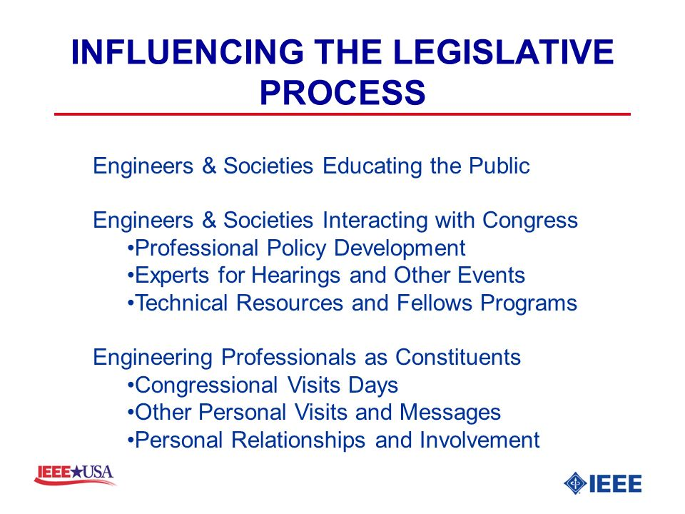 INFLUENCING THE LEGISLATIVE PROCESS Engineers & Societies Educating the Public Engineers & Societies Interacting with Congress Professional Policy Development Experts for Hearings and Other Events Technical Resources and Fellows Programs Engineering Professionals as Constituents Congressional Visits Days Other Personal Visits and Messages Personal Relationships and Involvement