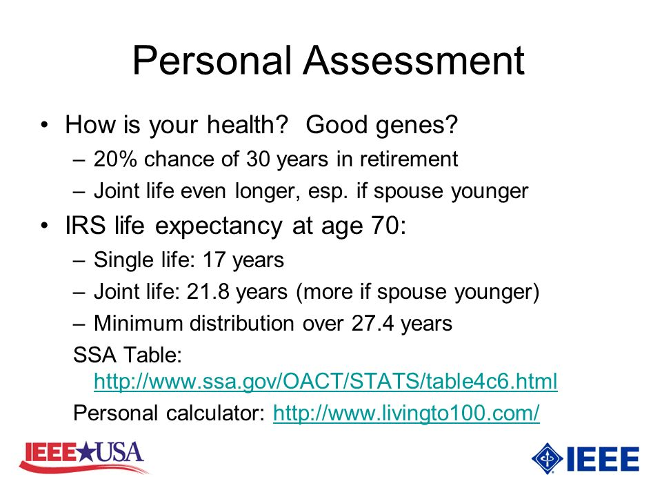 Personal Assessment How is your health. Good genes.
