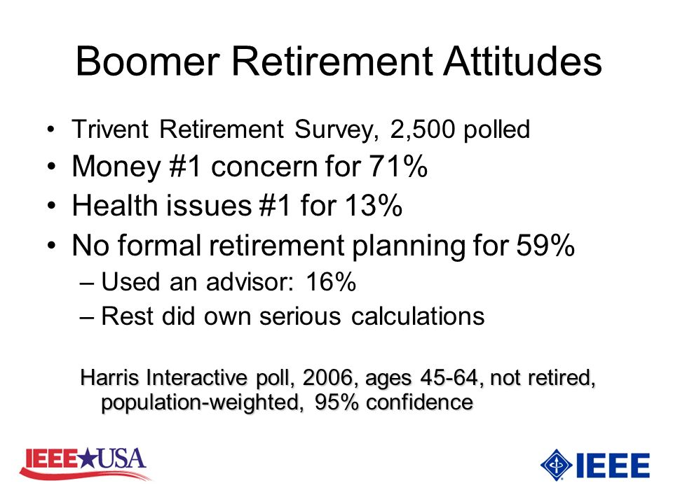 Boomer Retirement Attitudes Trivent Retirement Survey, 2,500 polled Money #1 concern for 71% Health issues #1 for 13% No formal retirement planning for 59% –Used an advisor: 16% –Rest did own serious calculations Harris Interactive poll, 2006, ages 45-64, not retired, population-weighted, 95% confidence