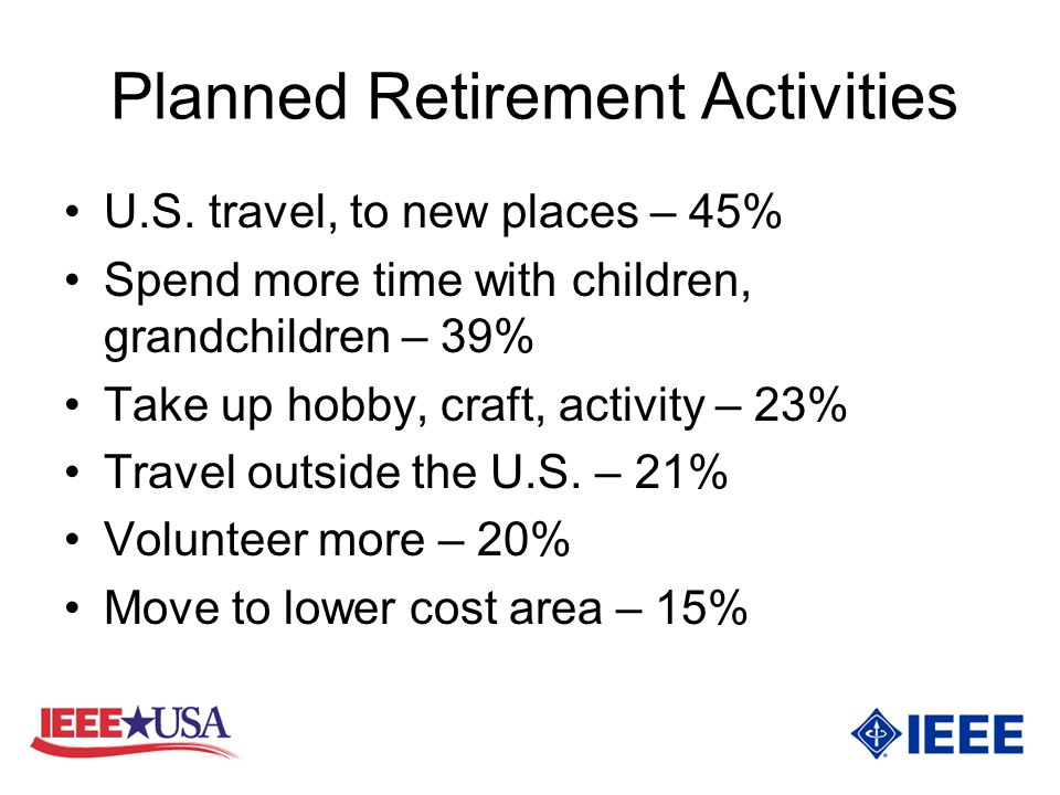 Planned Retirement Activities U.S.
