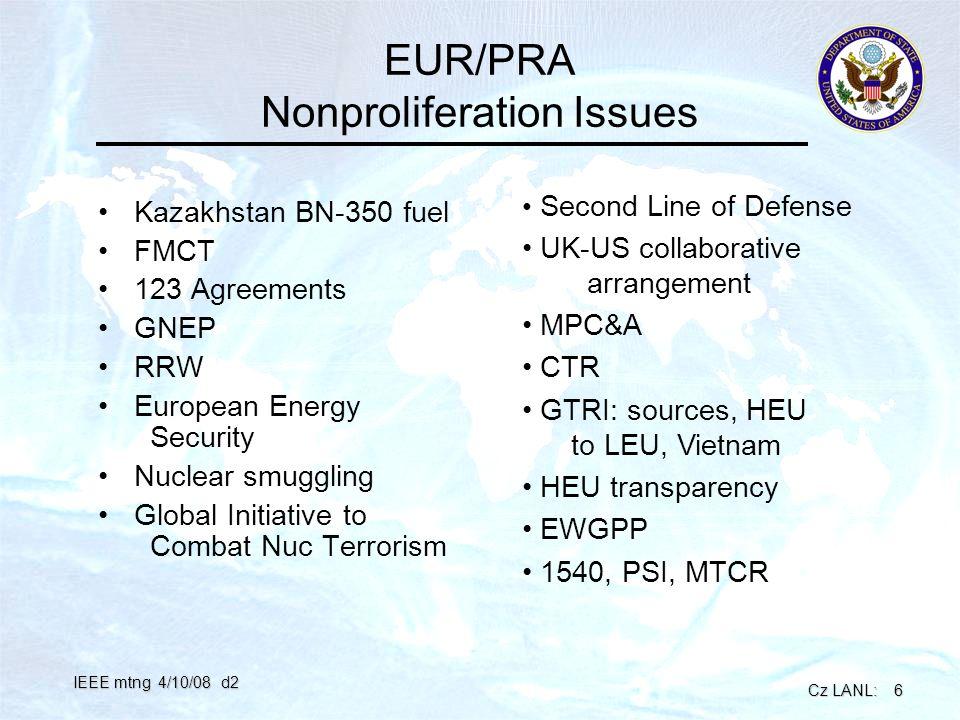 Cz LANL: 6 IEEE mtng 4/10/08 d2 EUR/PRA Nonproliferation Issues Kazakhstan BN-350 fuel FMCT 123 Agreements GNEP RRW European Energy Security Nuclear s