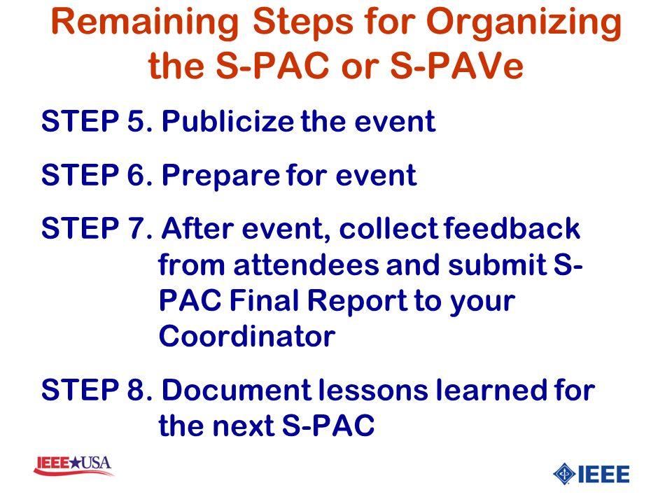 STEP 5. Publicize the event STEP 6. Prepare for event STEP 7.