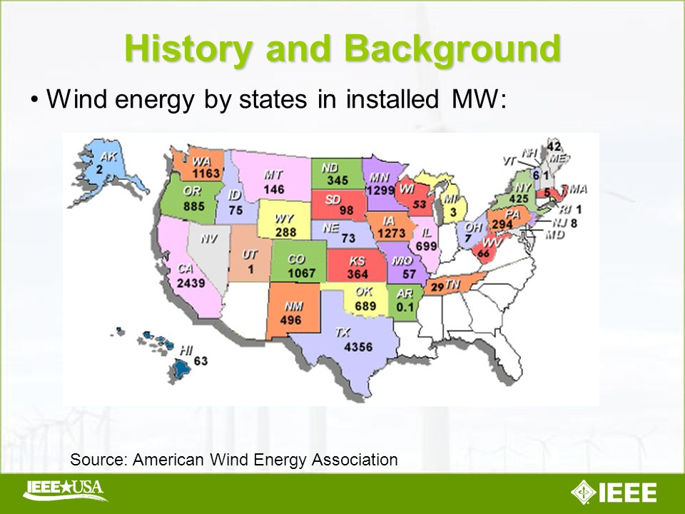 Wind energy by states in installed MW: History and Background Source: American Wind Energy Association