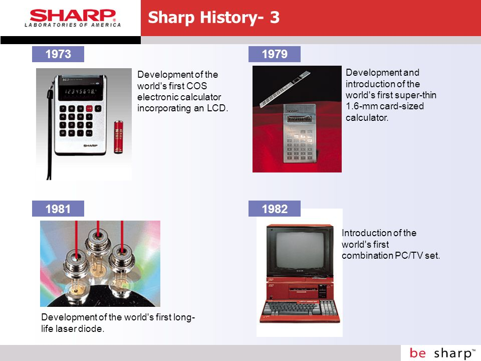 L A B O R A T O R I E S O F A M E R I C A 1973 Development of the world s first COS electronic calculator incorporating an LCD.