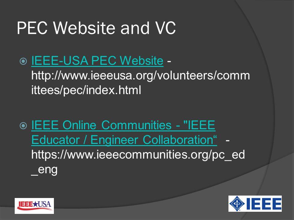 PEC Website and VC IEEE-USA PEC Website - http://www.ieeeusa.org/volunteers/comm ittees/pec/index.html IEEE-USA PEC Website IEEE Online Communities - IEEE Educator / Engineer Collaboration - https://www.ieeecommunities.org/pc_ed _eng IEEE Online Communities - IEEE Educator / Engineer Collaboration
