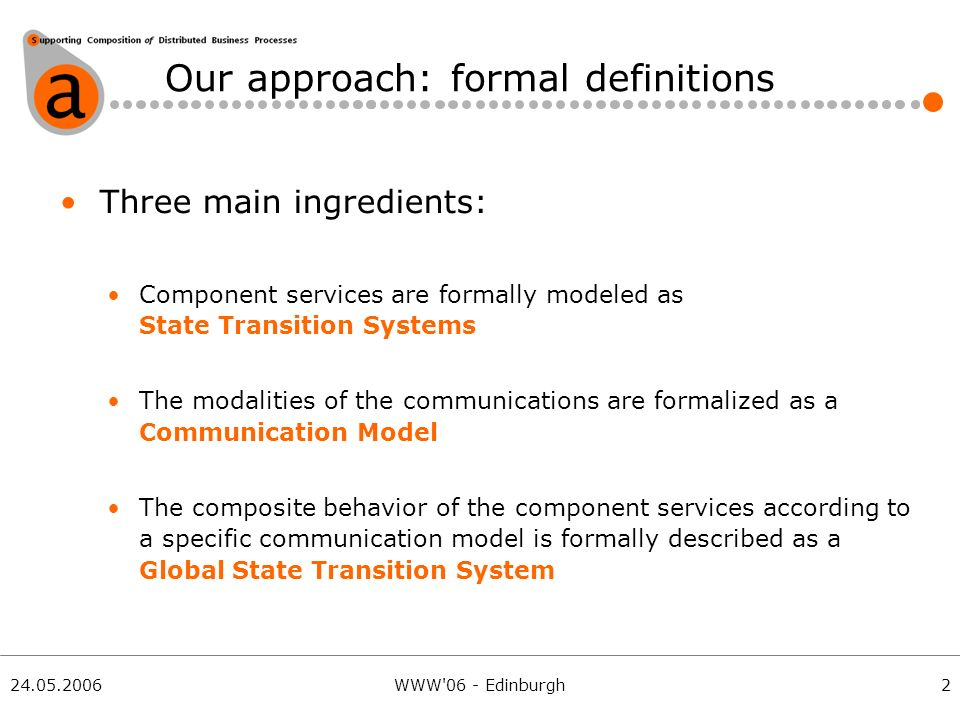24.05.2006WWW 06 - Edinburgh Our approach: formal definitions Three main ingredients: Component services are formally modeled as State Transition Systems The modalities of the communications are formalized as a Communication Model The composite behavior of the component services according to a specific communication model is formally described as a Global State Transition System 2