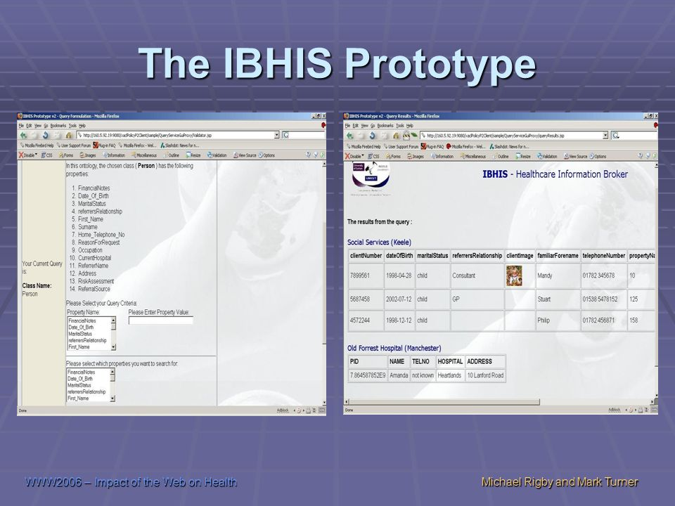 WWW2006 – Impact of the Web on HealthMichael Rigby and Mark Turner The IBHIS Prototype
